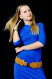 Elegant girl in blue dress Stock Photos