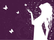 Elegant girl with butterfly. Vector illustration Royalty Free Stock Photography