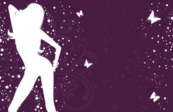 Elegant girl with butterfly. Vector illustration Stock Photos