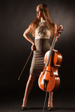 Elegant girl with cello Royalty Free Stock Photo