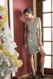 Elegant girl in christmas holiday Royalty Free Stock Image