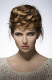 Elegant girl with creative hair-style Royalty Free Stock Image