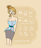 Elegant girl - Fashion shopping icon  set Stock Image