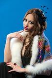 Elegant girl in fluttering black dress Stock Images