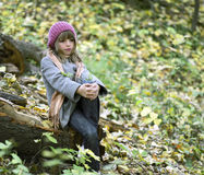 Elegant girl in forest Stock Images