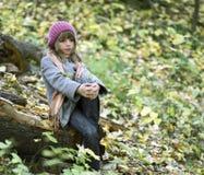 Elegant girl in forest Stock Images