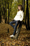 Elegant girl in forest Stock Photography