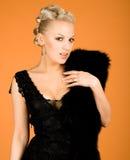 Elegant girl with fur Stock Photo