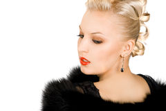 Elegant girl with fur Royalty Free Stock Photos