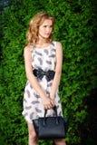 Elegant girl with handbag Royalty Free Stock Photo