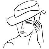 Elegant girl in a hat. Elegant young girl in a hat, hand drawing black vector outline royalty free illustration