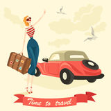 An elegant girl is hitchhiking stock illustration