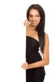 Elegant girl holding a banner Stock Images