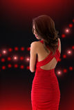 Elegant Girl In A Red Dress Royalty Free Stock Photo