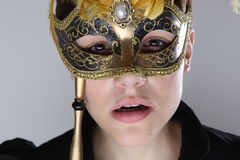 Elegant girl with mask Stock Photos