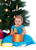 Elegant girl near the Christmas tree Stock Image
