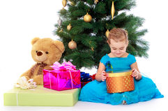 Elegant girl near the Christmas tree Royalty Free Stock Images