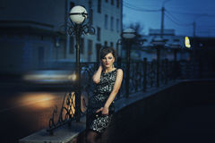 Elegant girl night city Royalty Free Stock Photo