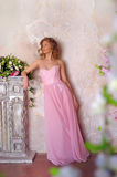 Elegant  girl in a pink long evening dress Stock Photo