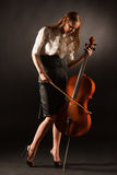 Elegant girl playing on violoncello Stock Images
