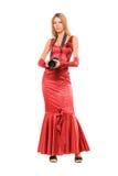 Elegant girl in red dress Stock Photo