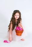 Elegant girl with rose-petals in basket Stock Images