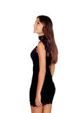 Elegant girl with a short black dress Royalty Free Stock Photography