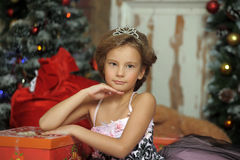 Elegant girl with a tiara. On her head Royalty Free Stock Photo