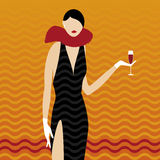 Elegant girl (vector). Illustration of woman in black Stock Photo