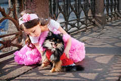 Elegant Girl With A Dog Royalty Free Stock Photo