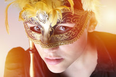 elegant girl with a wonderful mask Stock Images