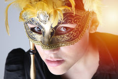 elegant girl with a wonderful mask Royalty Free Stock Photography