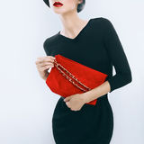 Elegant glamor lady with clutches Royalty Free Stock Image