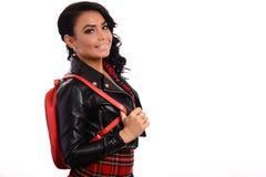 Elegant glamor lady with red bag Stock Image