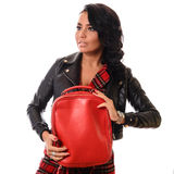 Elegant glamor lady with red bag Royalty Free Stock Photography
