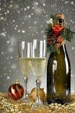 Elegant glasses and champagne bottle Stock Image