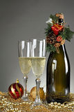 Elegant glasses and champagne bottle Stock Photos