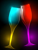Elegant, glittering champagne glasses Stock Photo