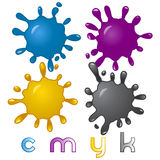 Elegant glossy CMYK splashes Stock Photo
