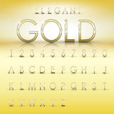 Elegant gold alphabets and numbers collection Royalty Free Stock Image