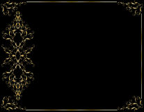 Elegant gold black background. Black background with an elegant gold frame stock illustration