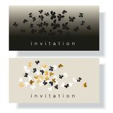 Elegant gold and black butterfly composition for card,. Invitation. Simple luxury floral vector illustration for surface design Royalty Free Stock Images