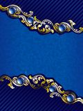 Elegant gold and blue background with gems stock illustration