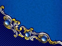 Elegant gold and blue background with gems. Elegant background with gold filigree and embedded jewels. Graphics are grouped and in several layers for easy Stock Photos