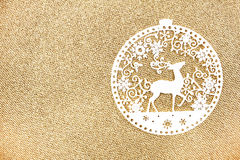 Elegant Gold Christmas background with white Christmas Ornaments Stock Images