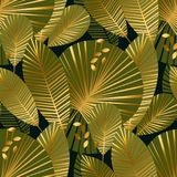 Elegant gold exotic leaves seamless pattern. For background, wrapping paper, fabric on blue checkered background. art nouveau botalical endless repeatable motif Stock Images