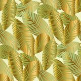 Elegant gold exotic leaves seamless pattern vector illustration