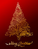 Elegant gold floral christmas tree. Vector illustration of elegant gold floral christmas tree Stock Photography
