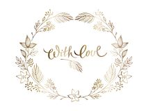 Elegant gold floral design templates. Wedding elegant ornament. Gold lettering in ornate floral frame.  vector illustration