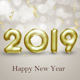 Elegant Gold Foil Balloons 3D Illustration Brilliant Happy New Year 2019. Modern, noble, precious and elegant gold 3D illustration. Happy New Year 2019 3d foil Stock Photo